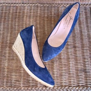 Gaimo Navy Suede Pointy wedge Heel Espadrille 38